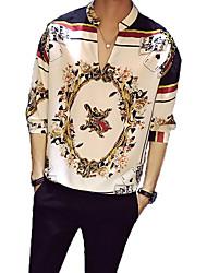 Недорогие -Муж. С принтом Рубашка Воротник-стойка Цветочный принт