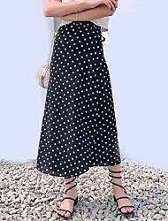 baratos -mulheres saindo midi saias de uma linha - polka dot cintura alta