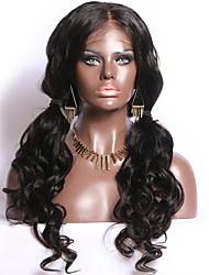 Недорогие -человеческие волосы Remy Полностью ленточные Парик Бразильские волосы Естественные кудри Парик Средняя часть 130% Плотность волос с детскими волосами Природные волосы Отбеленные узлы Жен. Длинные