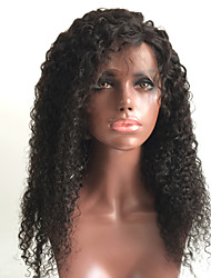 abordables -Cabello Remy Encaje Completo Peluca Cabello Brasileño Rizado Peluca Corte a capas 150% Con Baby Hair / Para mujeres de color Negro Mujer Corta / Larga / Longitud Media Pelucas de Cabello Natural