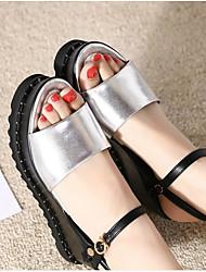 preiswerte -Damen Schuhe Leder / Nappaleder Sommer Komfort Sandalen Plattform Silber
