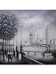 Недорогие -Hang-роспись маслом Ручная роспись - Абстракция Пейзаж Современный Modern холст