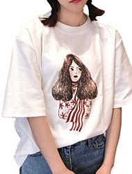 baratos -Mulheres Camiseta Básico Estampado, Retrato Algodão Gola Redonda Solto / Verão