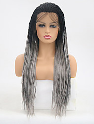 cheap -Synthetic Lace Front Wig Straight Braid Synthetic Hair Heat Resistant Gray Wig Women's Long Lace Front Wig / Yes