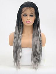 Недорогие -Синтетические кружевные передние парики Прямой тесьма Искусственные волосы Жаропрочная Серый Парик Жен. Длинные Лента спереди Черный / серый / Да