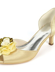 cheap -Women's Shoes Satin Spring & Summer Basic Pump Wedding Shoes Kitten Heel Peep Toe Satin Flower Dark Blue / Fuchsia / Champagne