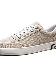 Недорогие -Муж. Ткань Лето Удобная обувь Кеды Черный / Бежевый / Серый
