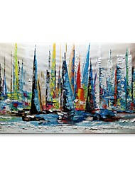 cheap -STYLEDECOR Modern Hand Painted Abstract The Colorful Sailboat Next to The City Oil Painting on Canvas for