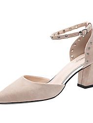 preiswerte -Damen Schuhe Pelz Frühling Herbst Pumps Gladiator High Heels Blockabsatz Spitze Zehe Niete für Party & Festivität Schwarz Beige