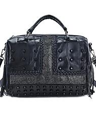cheap -Women's Bags Genuine Leather Shoulder Bag Zipper / Tassel Black