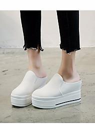 abordables -Femme Chaussures Toile Printemps / Automne Confort Mocassins et Chaussons+D6148 Creepers Blanc / Noir