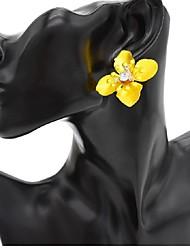 Недорогие -Жен. Серьги-гвоздики Серьги Цветы и растения Цветы Дамы Винтаж Мода Бижутерия Желтый / Красный / Зеленый Назначение Свидание Для улицы