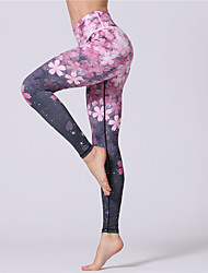 cheap -Women's Yoga Pants - Blue, Pink Sports Floral / Botanical, Sexy Tights / Leggings / Bottoms Activewear Trainer, Dancing, Yoga Stretchy