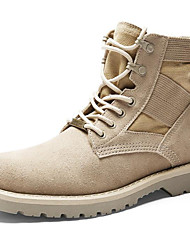 cheap -Men's Cowhide Winter Combat Boots Boots Booties / Ankle Boots Camel