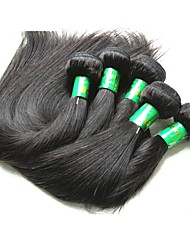 cheap -Indian Hair / Bundles Straight Virgin Human Hair / Remy Human Hair Human Hair Extensions 5 Bundles Human Hair Weaves New Arrival / Hot Sale / African American Wig Natural Black Human Hair Extensions