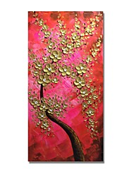 baratos -Pintura a Óleo Pintados à mão - Abstrato / Floral / Botânico Contemprâneo / Modern Tela de pintura