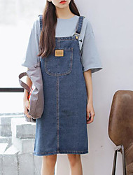 cheap -Women's Going out Street chic Denim Dress - Solid Colored Strap / Spring / Summer