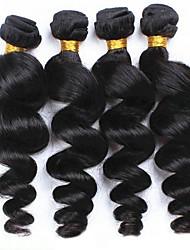baratos -4 pacotes Cabelo Peruviano Ondulado Cabelo Humano Um Pacote de Solução Tramas de cabelo humano extensão / Venda imperdível Côr Natural Extensões de cabelo humano Todos