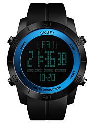 Недорогие -SKMEI Муж. Спортивные часы Японский Будильник / Секундомер / Защита от влаги PU Группа На каждый день / Мода Черный / С двумя часовыми поясами / Хронометр