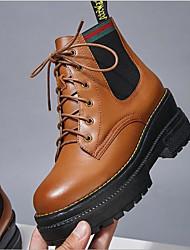 preiswerte -Damen Schuhe Leder / Nappaleder Winter Pumps / Komfort Stiefel Blockabsatz für Normal Schwarz / Dunkelbraun