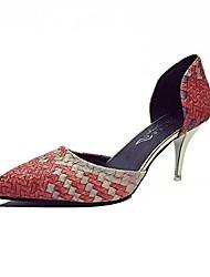 baratos -Mulheres Sapatos Couro Ecológico TPU Primavera Verão Plataforma Básica Sandálias Salto Agulha Peep Toe para Ao ar livre Azul Rosa claro