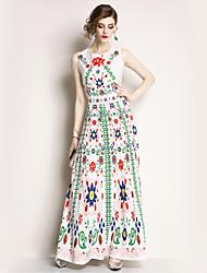 Χαμηλού Κόστους -Γυναικεία Αργίες Βασικό / Κομψό στυλ street Swing Φόρεμα - Φλοράλ Μακρύ