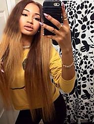 cheap -Virgin Human Hair Full Lace Wig Brazilian Hair Straight Blonde Wig Layered Haircut 130% Ombre Hair / Dark Roots Blonde Women's Short / Long / Mid Length Human Hair Lace Wig
