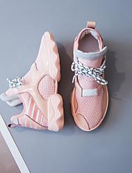 preiswerte -Damen Schuhe Leder Herbst Komfort Sportschuhe Flacher Absatz Schwarz / Rosa