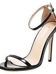 baratos -Mulheres Sapatos Couro Ecológico Primavera Verão Tira no Tornozelo / Plataforma Básica Sandálias Salto Agulha Dedo Aberto Presilha para