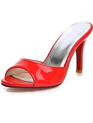 abordables -Femme Chaussures Cuir Verni Eté A Bride Arrière Sandales Talon Aiguille Bout ouvert Blanc / Rouge / Mariage / Soirée & Evénement