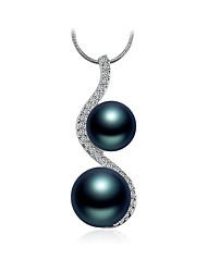 cheap -Women's Cubic Zirconia Pendant Necklace - Pearl, Gray Pearl Fashion Blue 45 cm Necklace For Gift, Daily