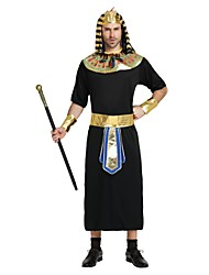 cheap -Egyptian Costume Costume Men's Halloween Carnival New Year Festival / Holiday Halloween Costumes Outfits Black Solid Colored Halloween Halloween