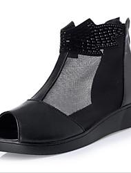 baratos -Mulheres Sapatos Micofibra Sintética PU / Tule Primavera Verão Coturnos Botas Sem Salto Peep Toe Botas Curtas / Ankle para Ao ar livre