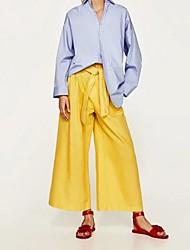 お買い得  -女性用 ワイドレッグ パンツ ソリッド ブラック&ホワイト