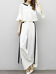 cheap -Women's Sophisticated Street chic Flare Sleeve Set - Striped Color Block, Bow Pant
