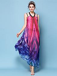 baratos -Mulheres Boho / Moda de Rua balanço Vestido - Com Transparência / Franjas / Bordado, Listrado / Geométrica Longo