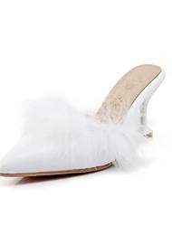 baratos -Mulheres Sapatos Couro Ecológico Primavera Verão Conforto / Inovador Sandálias Salto Agulha Dedo Apontado Penas Branco / Preto / Rosa