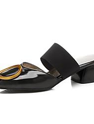 Недорогие -Жен. Обувь Дерматин Лето Босоножки Башмаки и босоножки Блочная пятка Квадратный носок Белый / Черный