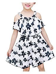 baratos -Infantil Para Meninas Estampado Manga Curta Vestido