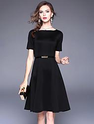 abordables -Femme Rétro / Basique Trapèze / Noir Robe Couleur Pleine Mi-long