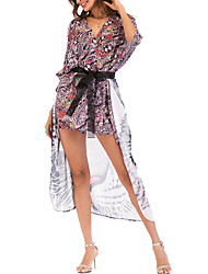 abordables -Mujer Activo Festivos Retazos / Estampado - Algodón Blusa, Escote en Pico Corte Ancho Geométrico / Bloques Tigre / Primavera / Verano