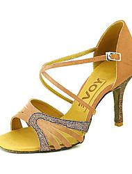 cheap -Women's Latin Shoes / Ballroom Shoes / Salsa Shoes Satin / Leatherette Sandal Buckle Customized Heel Customizable Dance Shoes Yellow /