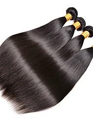 Недорогие -4 Связки Индийские волосы Прямой 8A Натуральные волосы Необработанные натуральные волосы Удлинитель Пучок волос One Pack Solution 8-28 дюймовый Нейтральный Естественный цвет Ткет человеческих волос