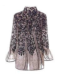 abordables -Mujer Vintage / Básico Noche Retazos / Estampado - Algodón Camisa, Escote en Pico / Escote Chino Geométrico / Primavera