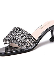 cheap -Women's Shoes PU Summer Comfort Slippers & Flip-Flops Low Heel Rhinestone for Casual White / Black / Silver