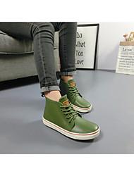 baratos -Mulheres Sapatos Pele PVC Primavera Botas de Chuva Botas Sem Salto Botas Curtas / Ankle Preto / Verde Tropa / Azul