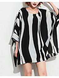 cheap -Women's Vintage Blouse - Striped Black & White, Tassel