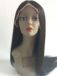 Недорогие -Необработанные натуральные волосы Полностью ленточные Парик Бразильские волосы Прямой Черный Парик Стрижка каскад 130% Плотность волос с детскими волосами Природные волосы Черный Жен.