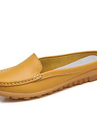 abordables -Femme Chaussures Cuir Printemps été Confort / Moccasin Sabot & Mules Talon Plat Noir / Orange / Jaune / Soirée & Evénement