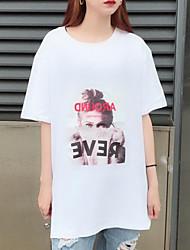 baratos -Mulheres Camiseta Básico Estampado, Letra / Retrato Algodão Gola Redonda Solto / Verão